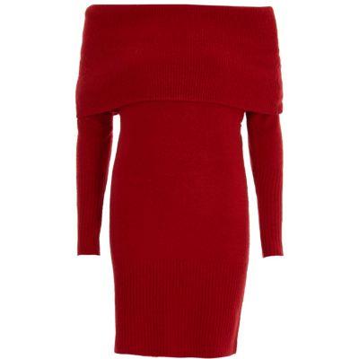 River Island Rode trui-jurk met bardothalslijn