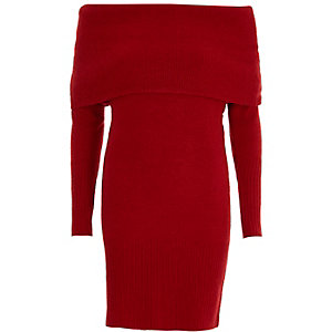 Red foldover bardot sweater dress