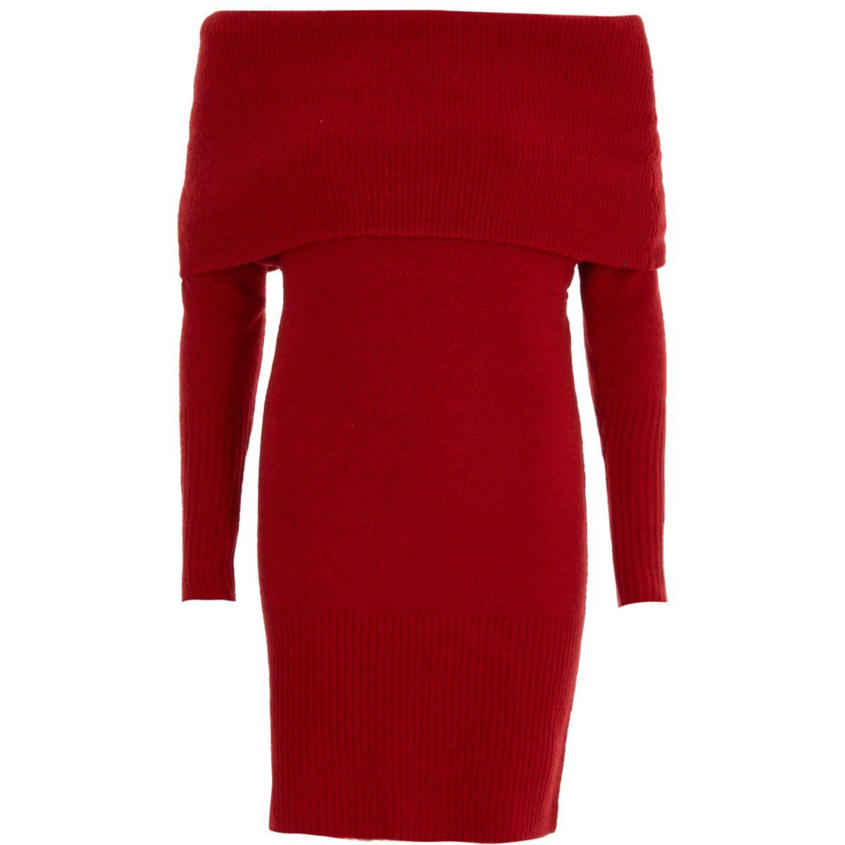 Robe pull rouge à encolure Bardot à revers