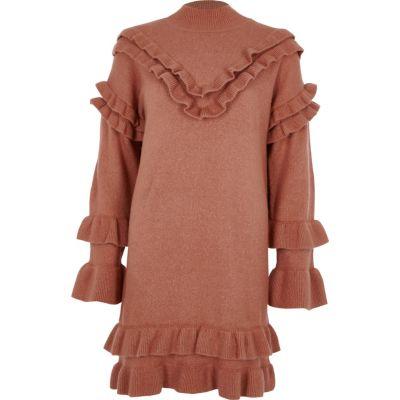 River Island Roze gebreide jurk met ruches en rolkraag