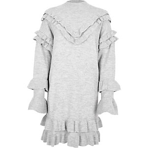 Light grey frill turtle neck knitted dress