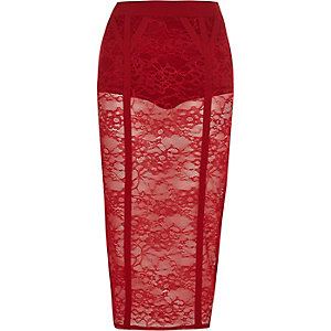 Red floral lace panel pencil skirt