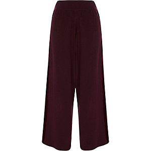 Burgundy wide leg velvet panel knit pants