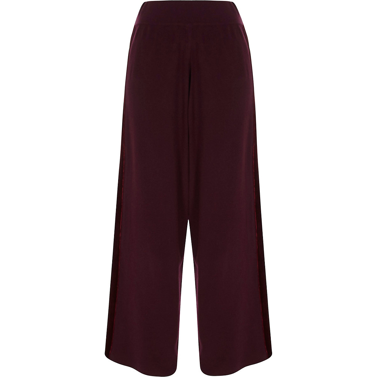 Pantalon large bordeaux avec empiècements en velours