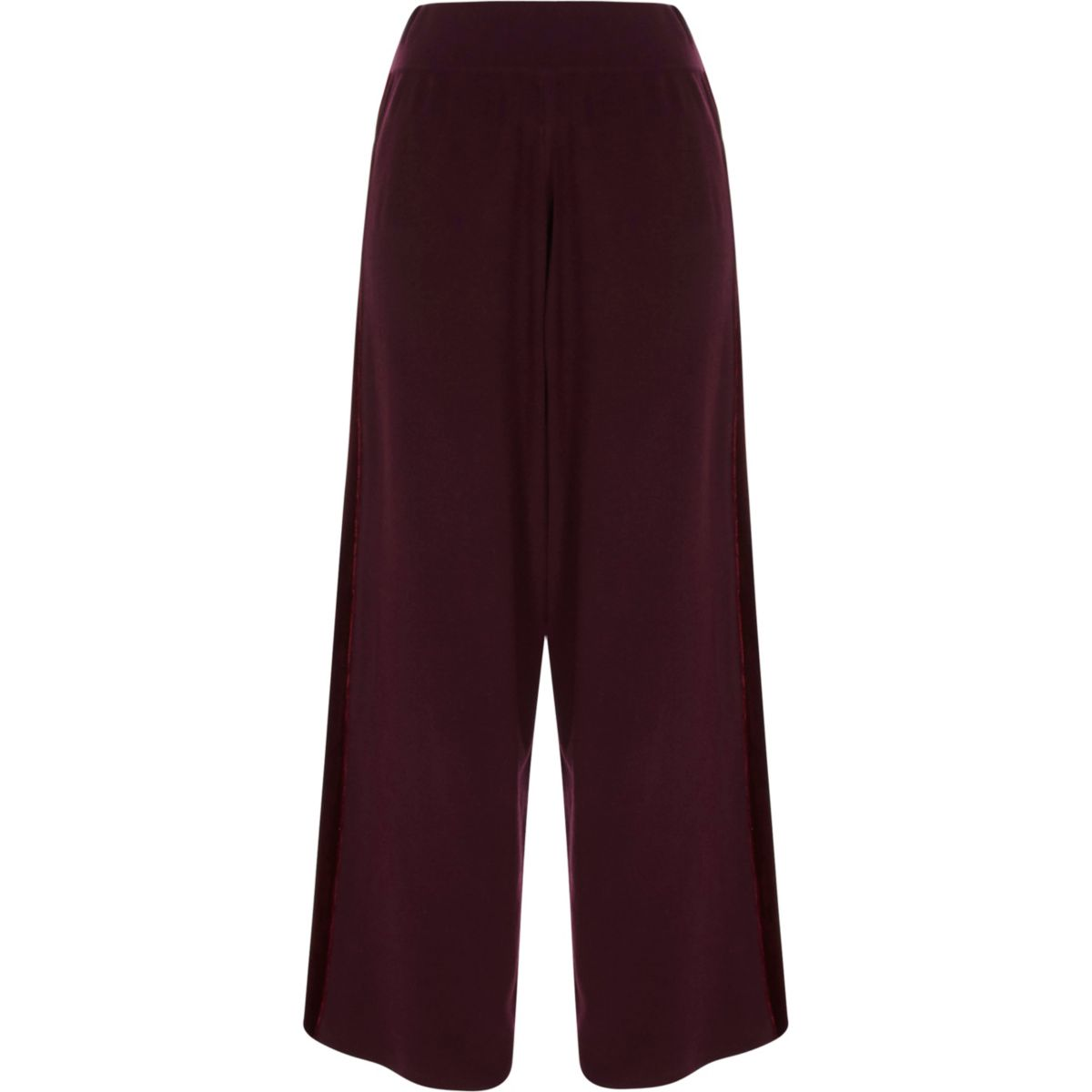 Burgundy wide leg velvet panel knit trousers
