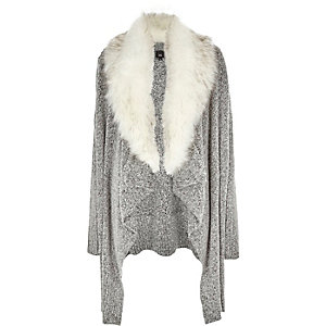 Grey faux fur collar waterfall cardigan
