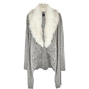 Grey faux fur collar waterfall cardigan