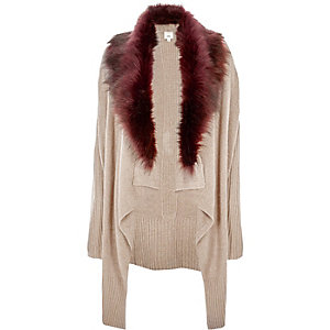 Beige faux fur collar twist front cardigan
