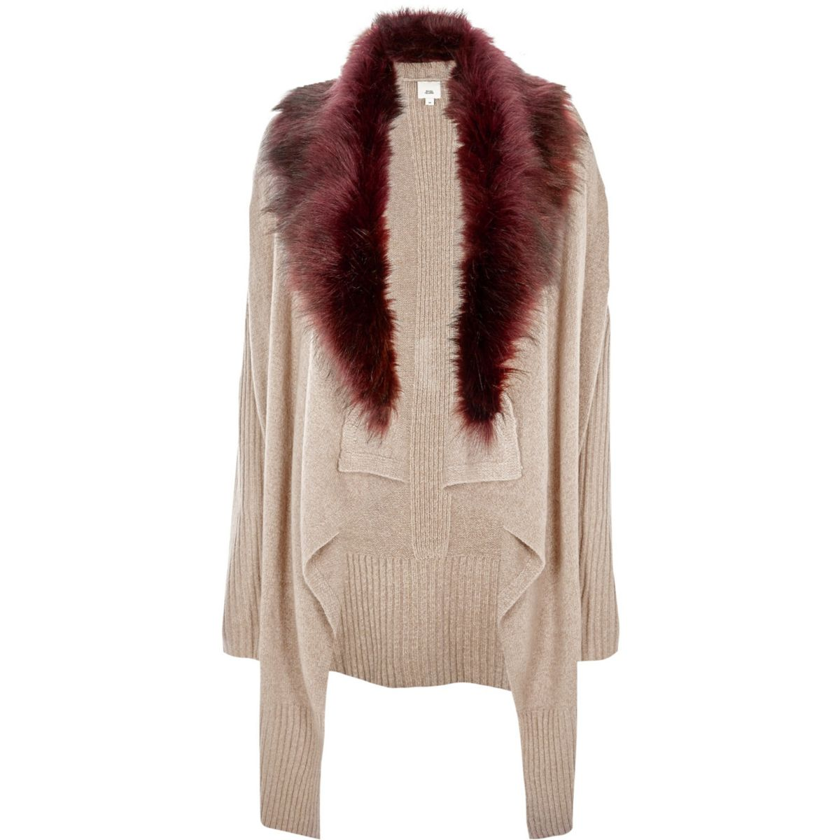 Beige faux fur collar waterfall cardigan - Knitwear - Sale - women