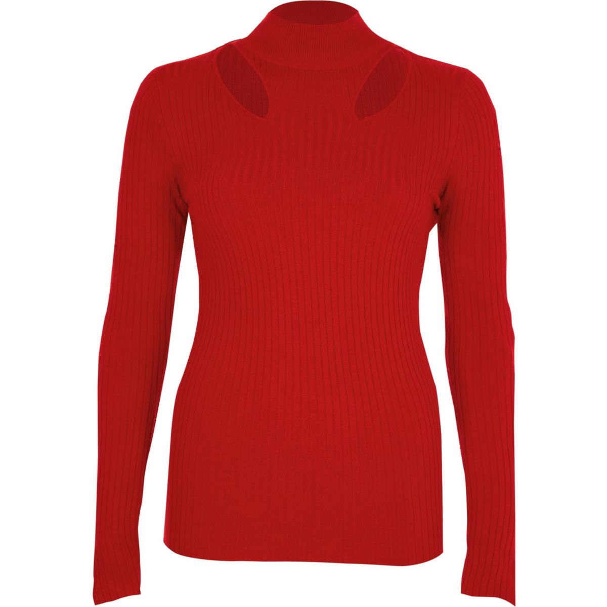Red rib knit cut out high neck top