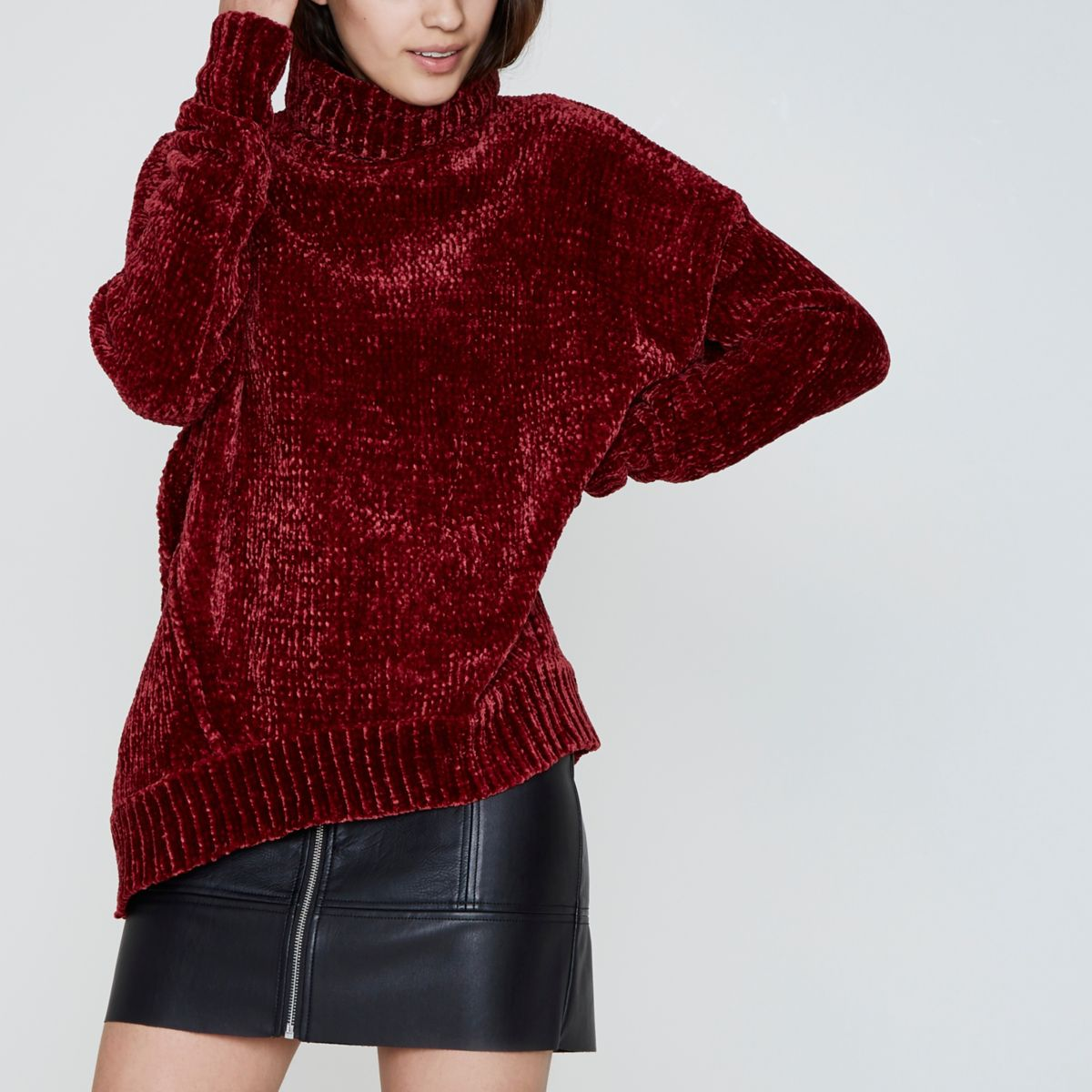 Red chenille knit oversized roll neck sweater