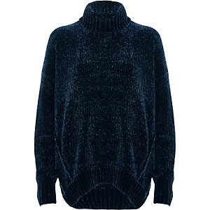 Navy chenille knit oversized roll neck jumper