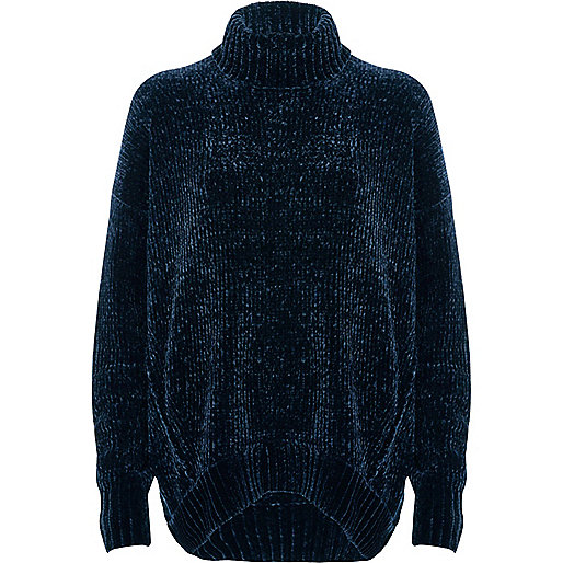 Navy chenille knit oversized roll neck sweater