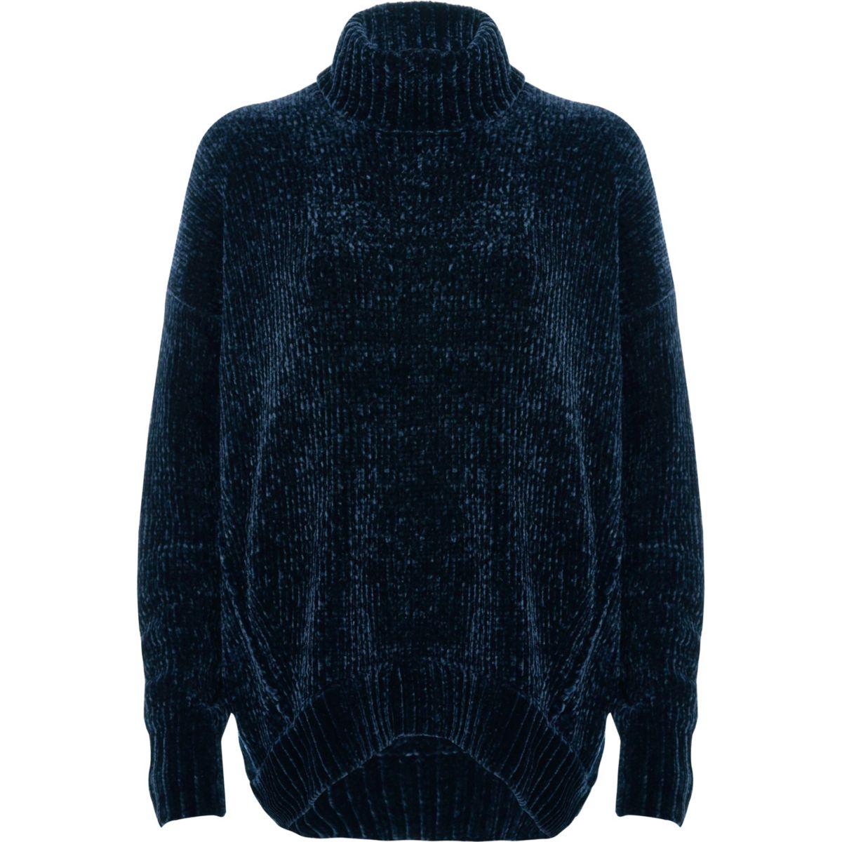 Navy chenille knit oversized roll neck jumper