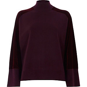 Burgundy velvet sleeve high neck knit sweater
