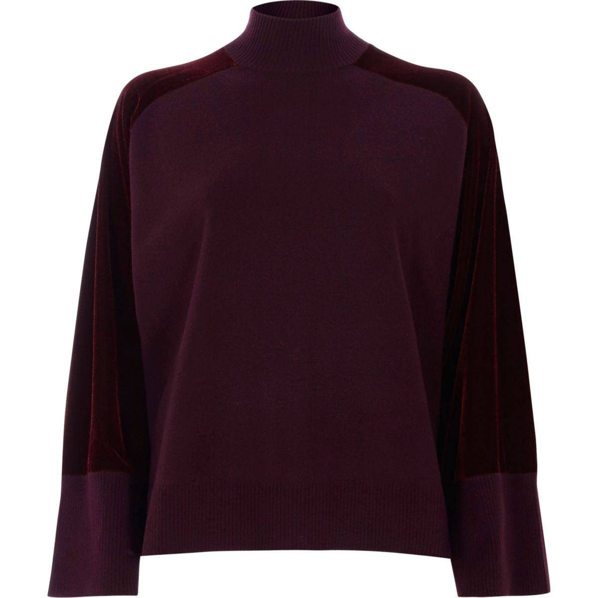 Burgundy velvet sleeve high neck knit jumper
