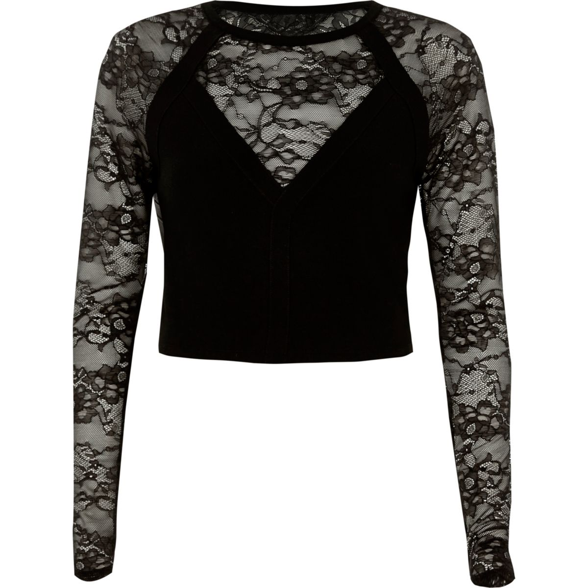 Black lace insert long sleeve fitted top