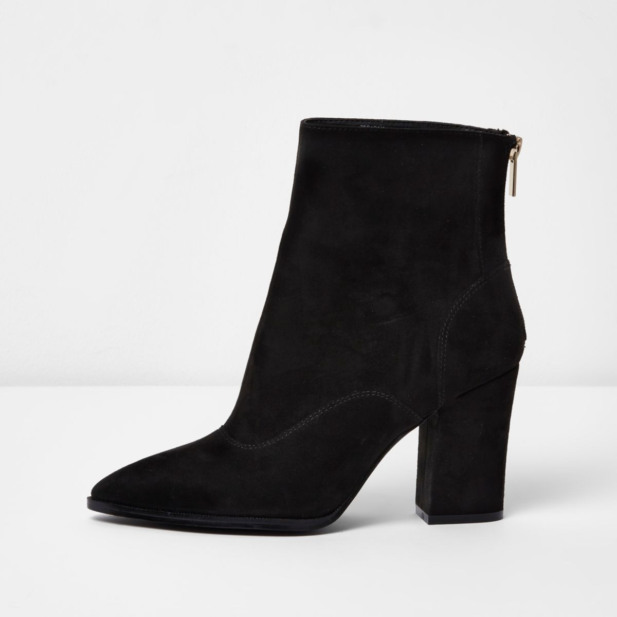 Black wide fit pointed toe ankle boots