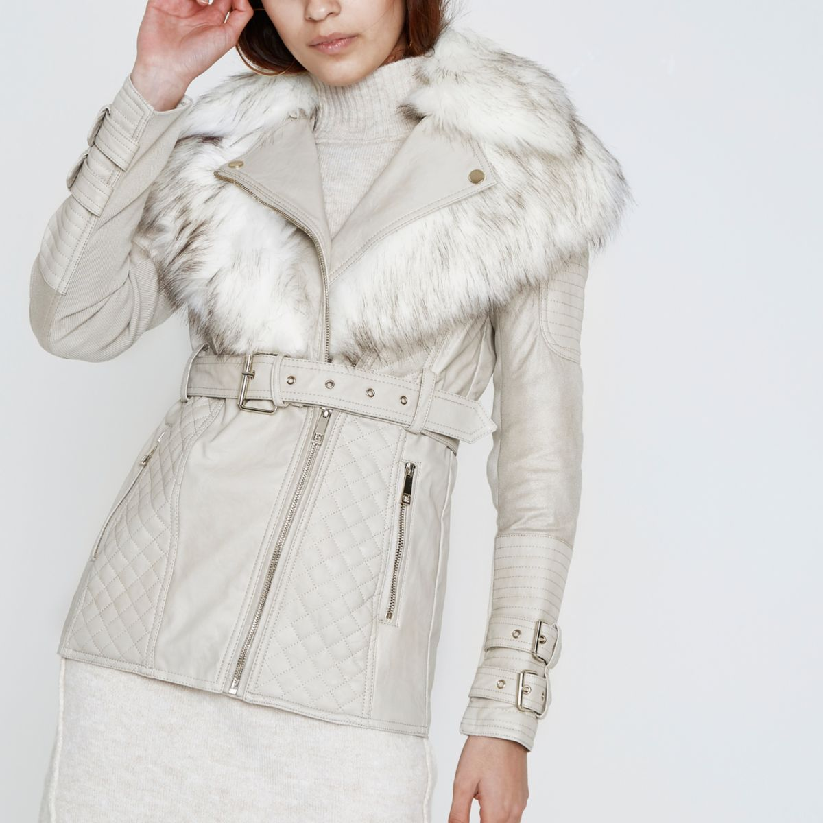 Stone faux fur collar belted biker jacket