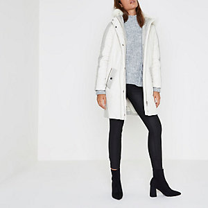 Cream faux fur trim longline puffer jacket