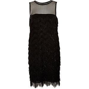 Black fringe dobby mesh sleeveless dress
