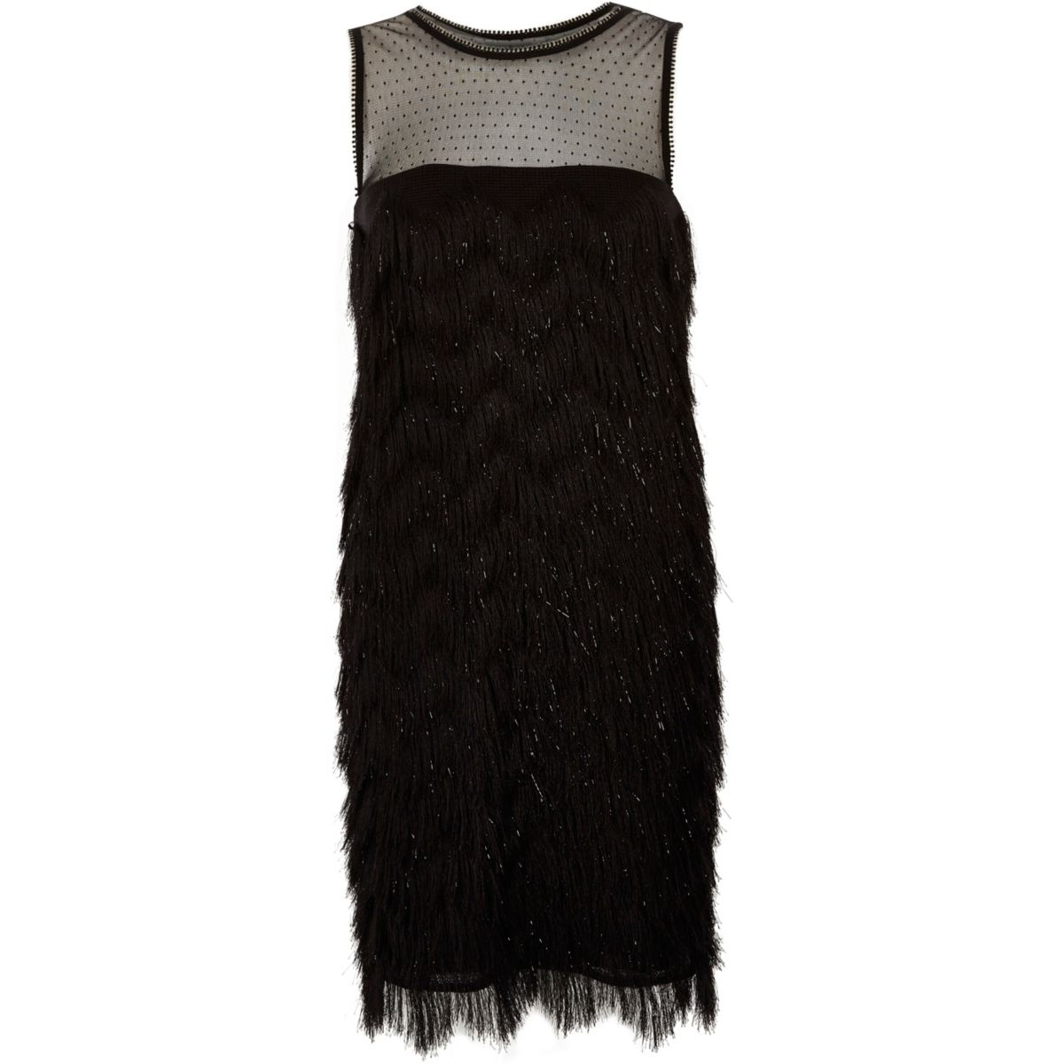 Black fringe dobby mesh sleeveless dress