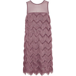 Pink fringed sleeveless swing dress