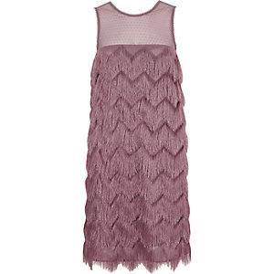 Pink fringed sleeveless swing dress