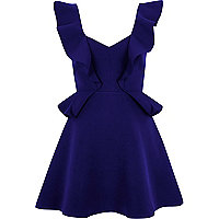 Mini robe patineuse bleue à volant