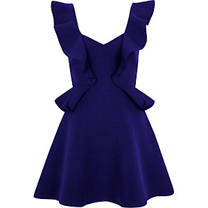 Blue frill skater mini dress