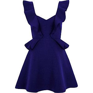 Mini robe patineuse bleue à volant
