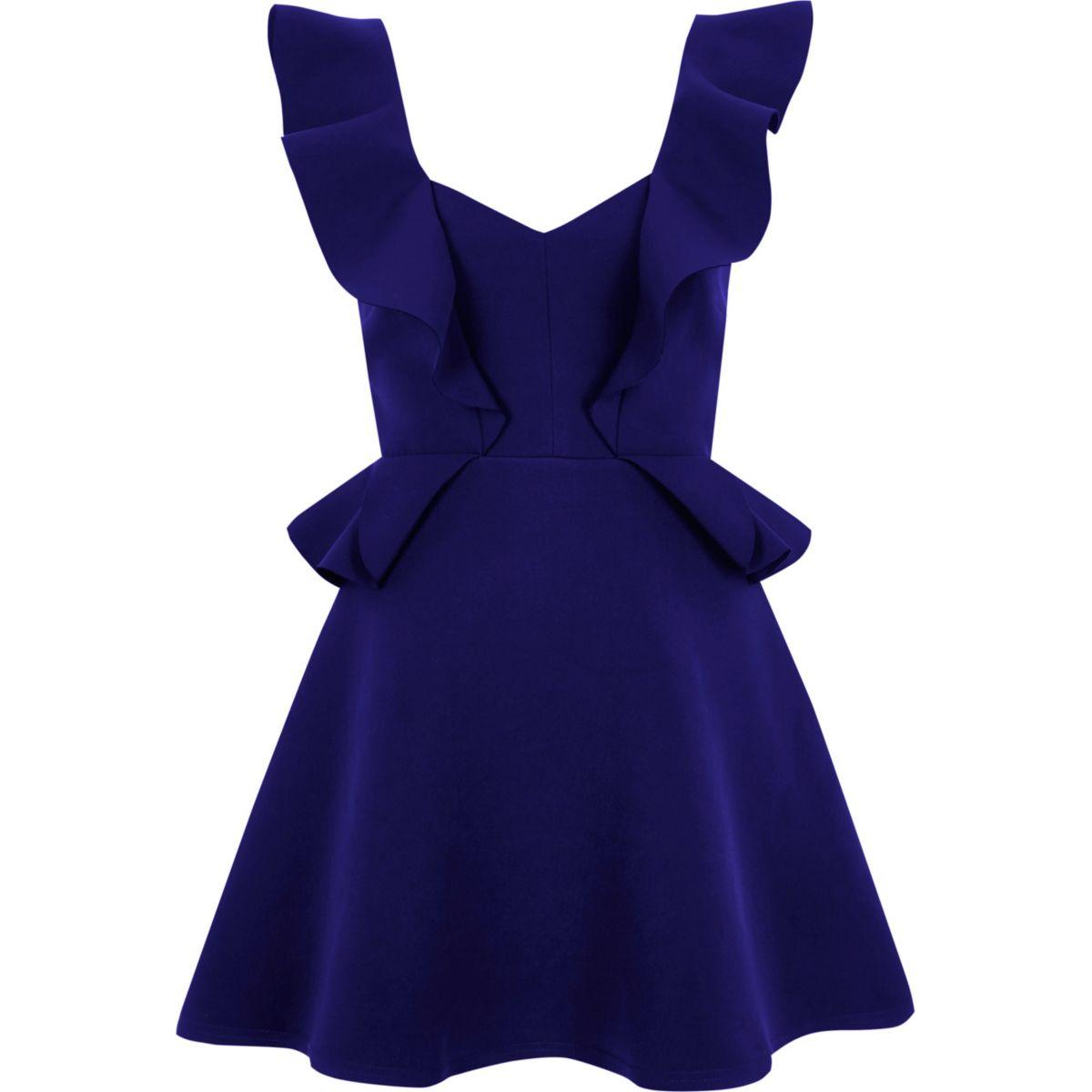 Blue frill skater mini dress