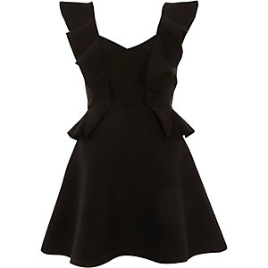 Black frill front peplum skater dress