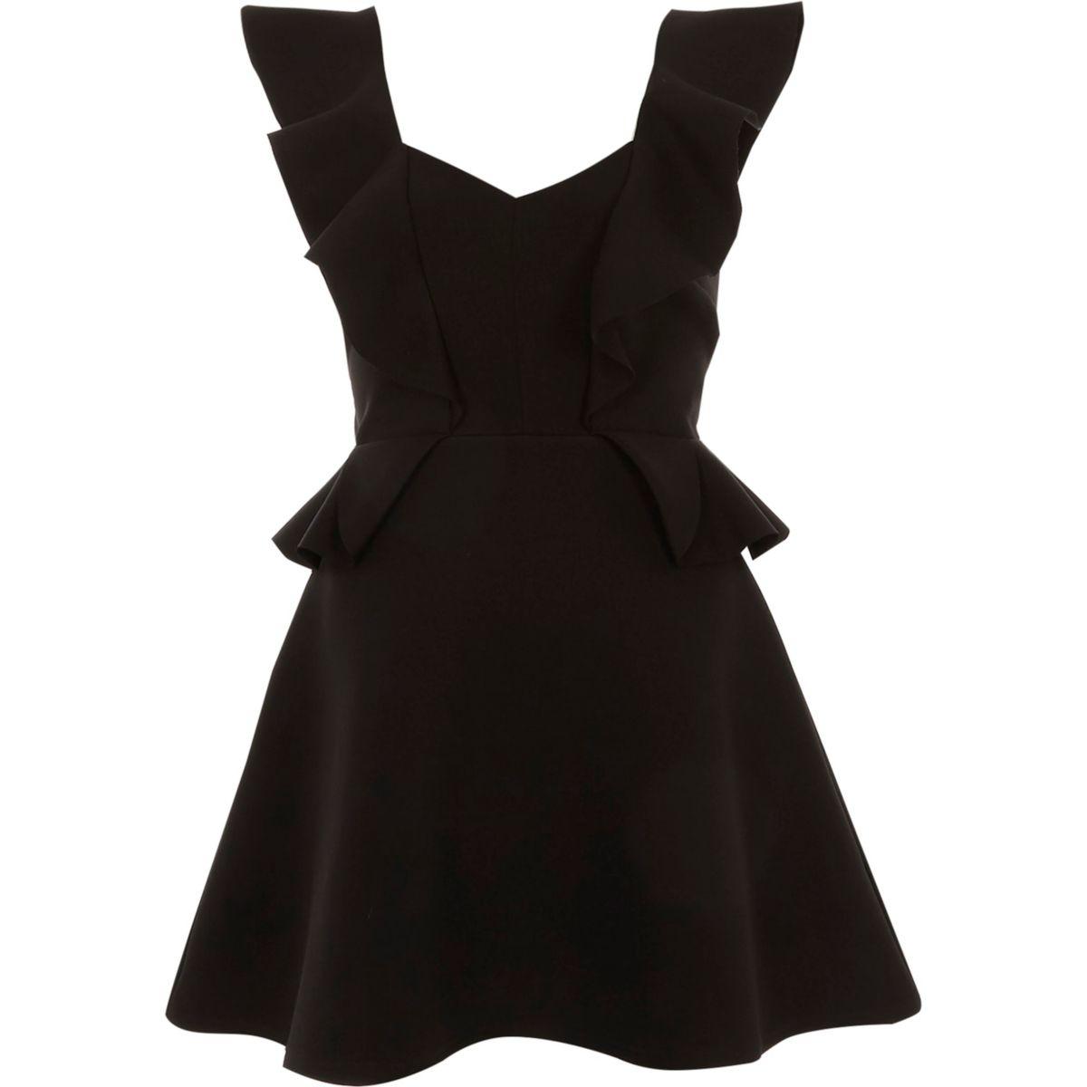 Black frill front peplum skater dress
