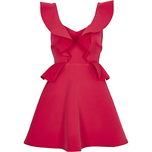 Bright pink frill skater dress