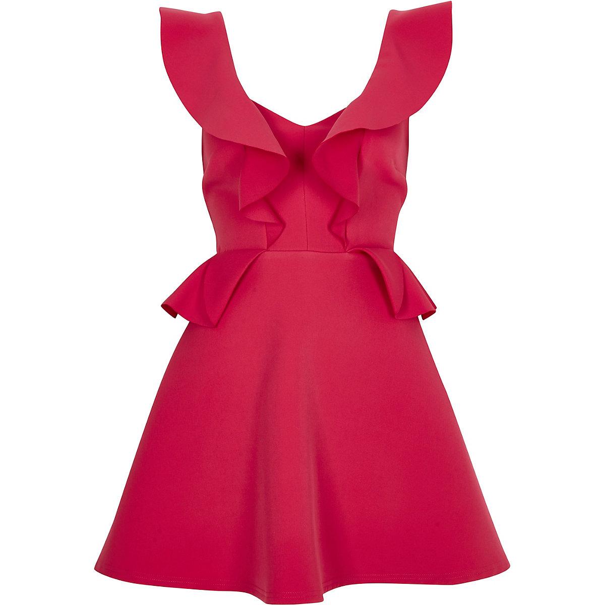 Bright pink frill skater dress