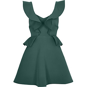 Dark green frill front peplum skater dress