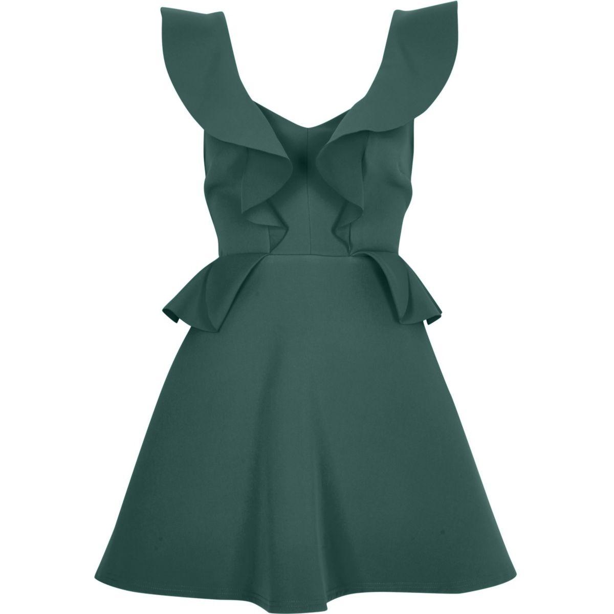 Dark green frill front peplum skater dress