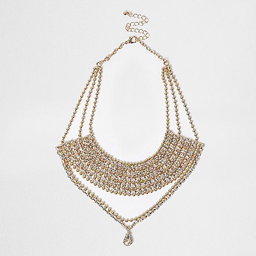 Gold tone statement drop necklace