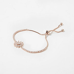 Rose gold tone diamante lariat bracelet