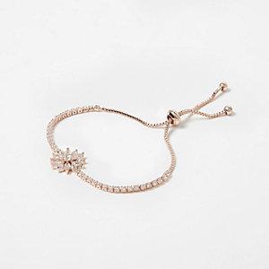 Cubic zirconia rose gold tone lariat bracelet
