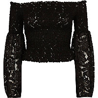 Black lace bardot bell sleeve crop top