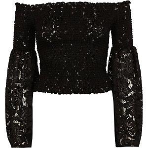 Black lace bardot bell sleeve crop top