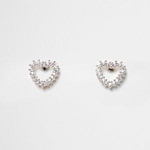 Silver tone diamante heart stud earrings