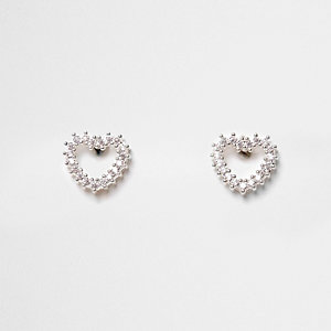 Cubic zirconia rhinestone heart stud earrings