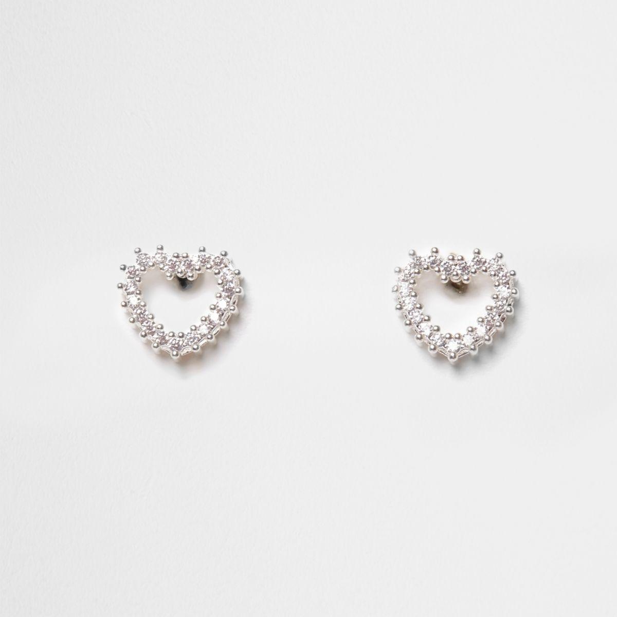 Cubic zirconia diamante heart stud earrings