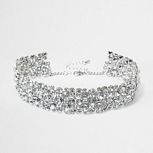 Silver rhinestone chain choker