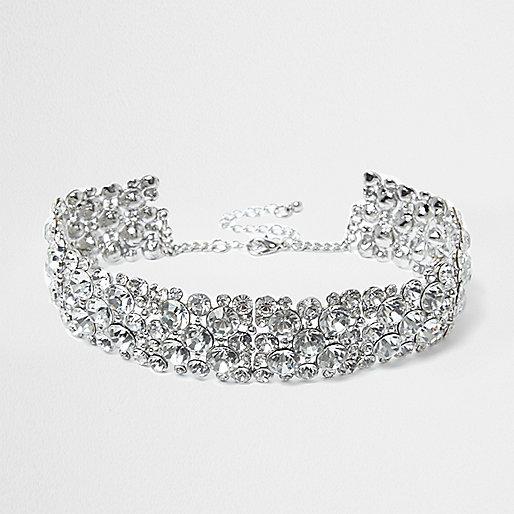 Silver diamante chain choker