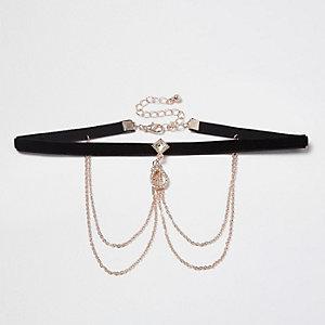 Collier ras-de-cou en velours noir et chaîne drapée