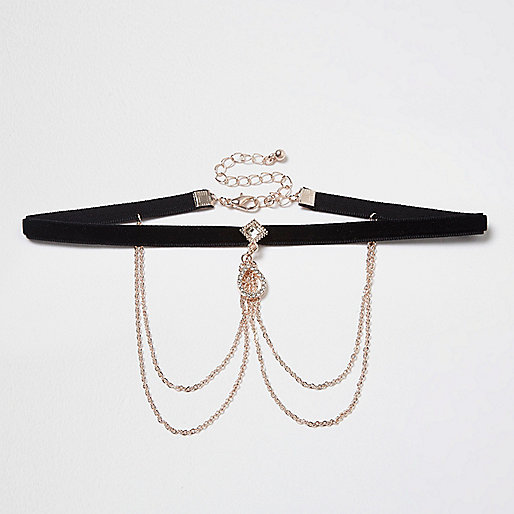 Black velvet drape chain choker
